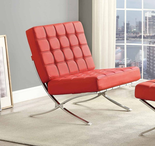Pesaro Contemporary Red Metal Tufted Back Chair HE-1226RD-1
