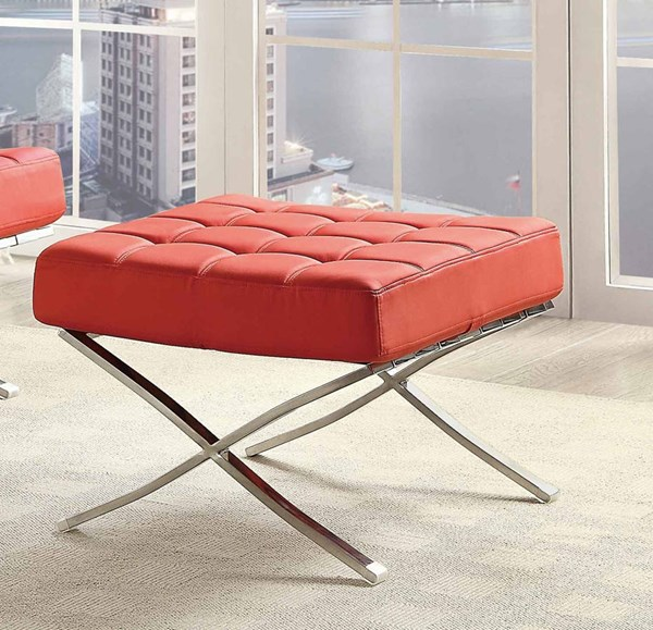 Pesaro Contemporary Red Metal Tufted Ottoman HE-1226RD-4