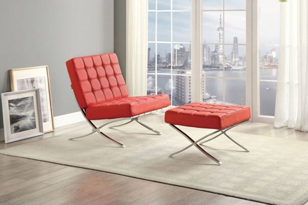 Pesaro Contemporary Red Metal Chair & Ottoman Set HE-1226RD-CHO-S1