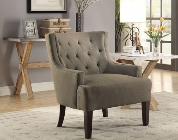 Dulce Modern Grey Espresso Wood Legs Accent Chair HE-1233GY