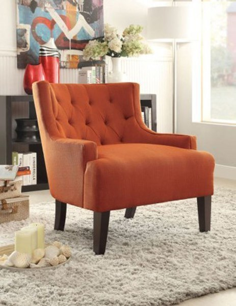 Dulce Modern Orange Espresso Wood Legs Accent Chair HE-1233RN