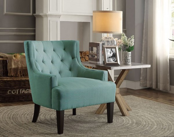 Dulce Modern Teal Espresso Wood Legs Accent Chair HE-1233TL
