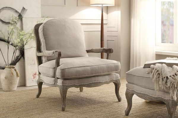 Home Elegance Parlier Grey Natural Show Wood Accent Chair HE-1234-1