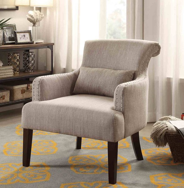 Reedley Brown Espresso Wood Legs One Kidney Pillow Accent Chair HE-1235BR