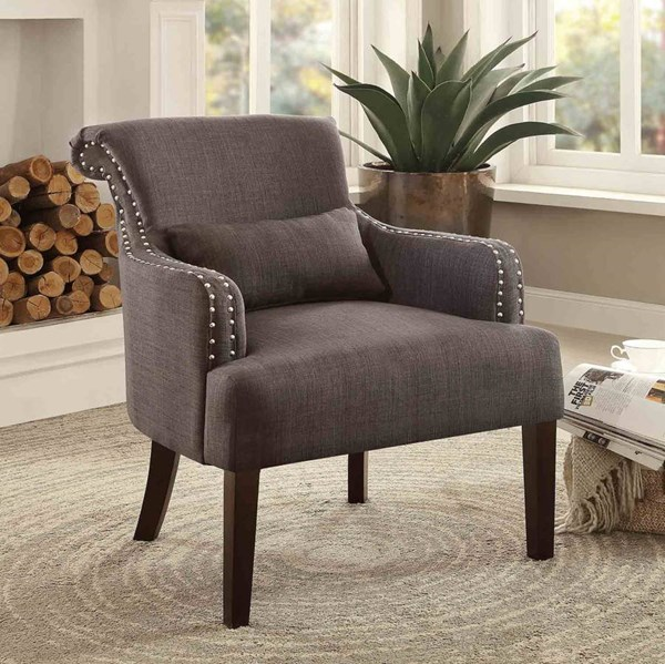 Reedley Chocolate Espresso Wood Legs One  Kidney Pillow Accent Chair HE-1235CH