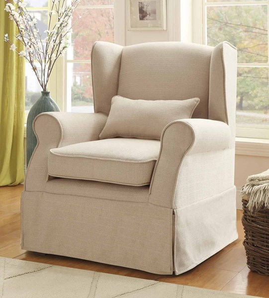 Holtville Traditional Neutral Fabric Accent Chair w/Kidney Pillow HE-1236F1S