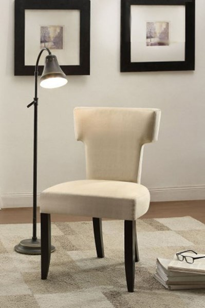 Alta Modern Beige Fabric Espresso Wood Legs Accent Chair HE-1249F1S