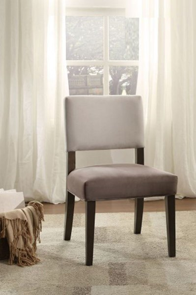 2 Home Elegance Jacinta Grey Espresso Accent Chairs HE-1255F1S