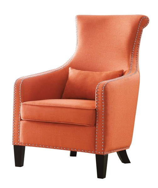 home elegance arles orange accent chair with 1 kidney pillow the classy home. Black Bedroom Furniture Sets. Home Design Ideas