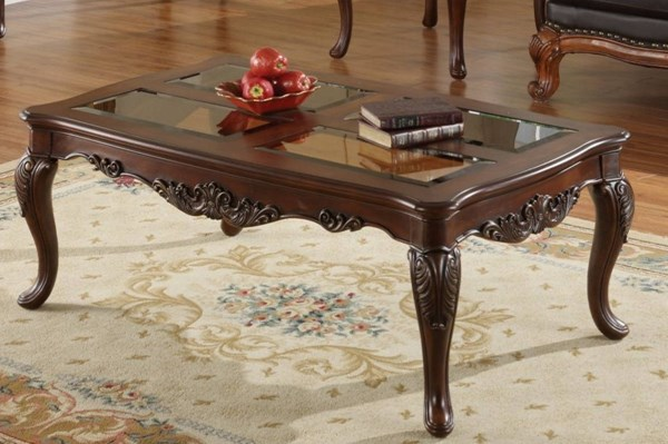 Ella Martin Warm Brown Cherry Wood Glass Insert Cocktail Table HE-1288-301