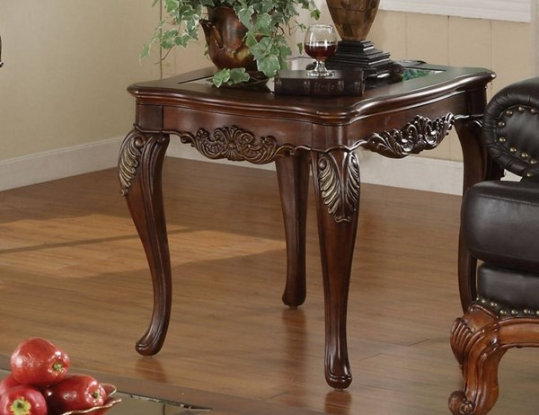 Ella Martin Warm Brown Cherry Wood Glass Insert End Table HE-1288-305
