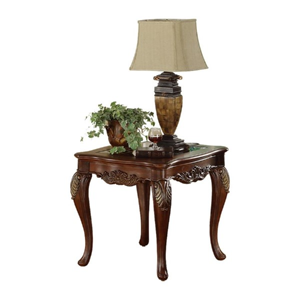 Home Elegance Ella Martin Cherry End Table with Glass Insert HE-1288-305