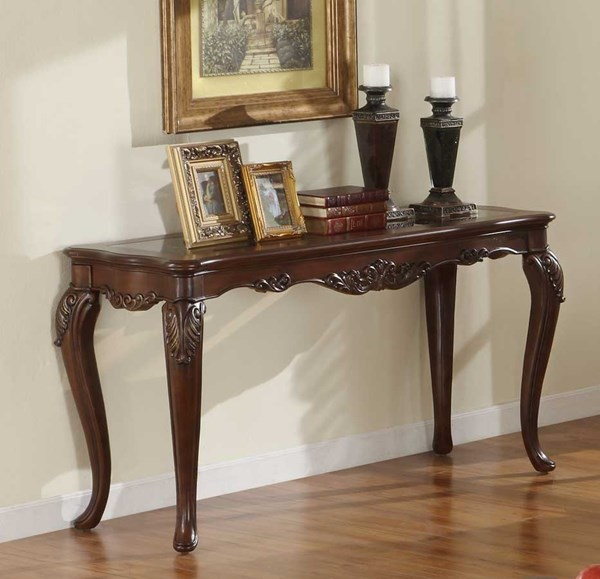 Ella Martin Warm Brown Cherry Wood Glass Insert Sofa Table HE-1288-307