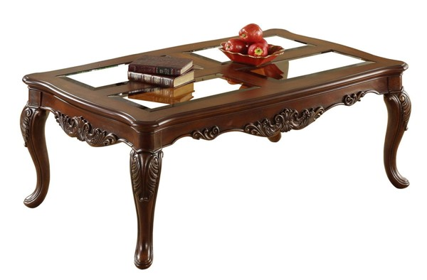 Home Elegance Ella Martin Cherry Cocktail Table with Glass Insert HE-1288-301