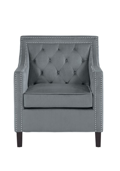 Home Elegance Grazioso Gray Accent Chair with Nailheads HE-1297GY-1
