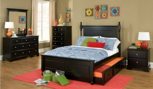 Morelle Classic Black 2pc Bedroom Set W/Full Trundle Bed HE-1356FPRBK-FB