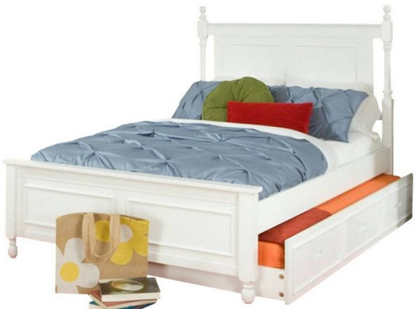 Morelle Classic White Wood Twin Bed w/Trundle HE-1356TPRW-1R