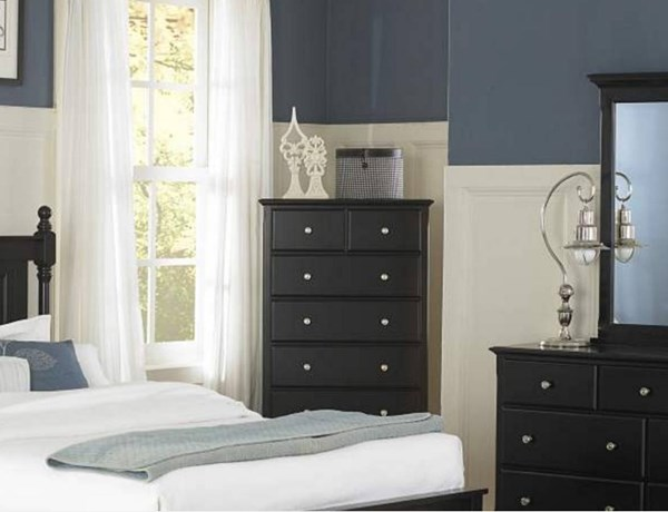 Morelle Classic Black Wood Round Knobs Six Drawers Chest HE-1356BK-9