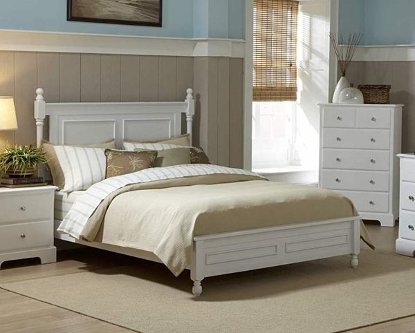 Morelle Classic White Wood Twin Poster Bed HE-1356TW-1