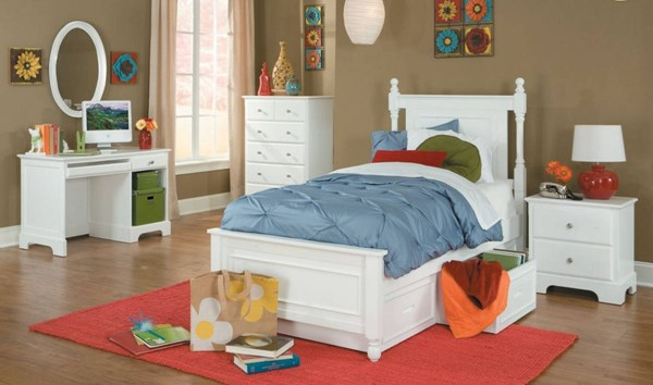 Morelle Classic White Wood 2pc Bedroom Sets W/Twin Storage Bed HE-1356W-Y-sets