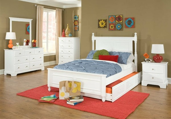 Morelle Classic White Wood 2pc Bedroom Set W/Twin Trundle Bed HE-1356TPRW-TB