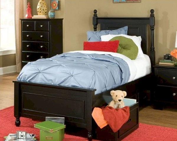Morelle Classic Black Wood Twin Bed W/Toy Box HE-1356TPRBK-1T