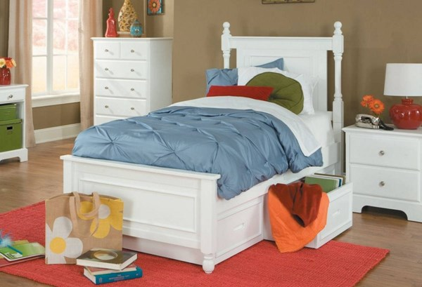 Morelle Classic White Wood Twin Bed w/Toy Box HE-1356TPRW-1T