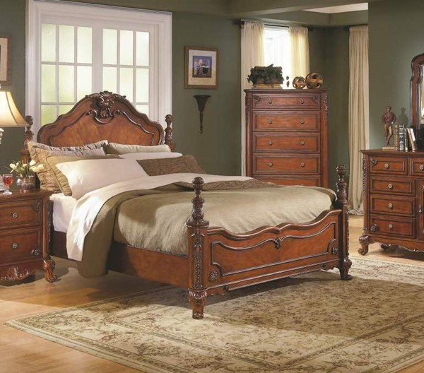 Madaleine Old World Warm Cherry Hardwood Veneers Queen Bed HE-1385-1