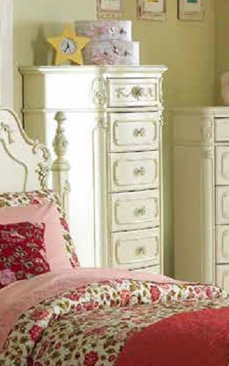 Cinderella Creamy White Wood 7 Drawer Tall Chest HE-1386-12