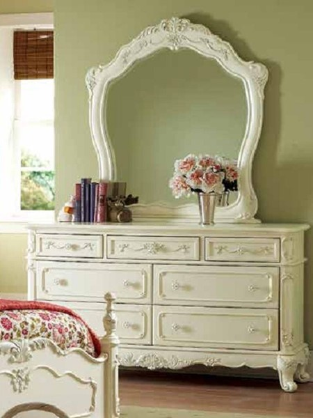 Cinderella Traditional White Cherry Wood Dresser And Mirror HE-1386-5-6-VAR