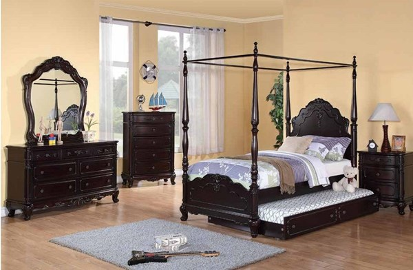 Cinderella 2pc Kids Bedroom Set W/Twin Canopy Poster W/Trundle Bed HE-1386FCPT-CH-S4