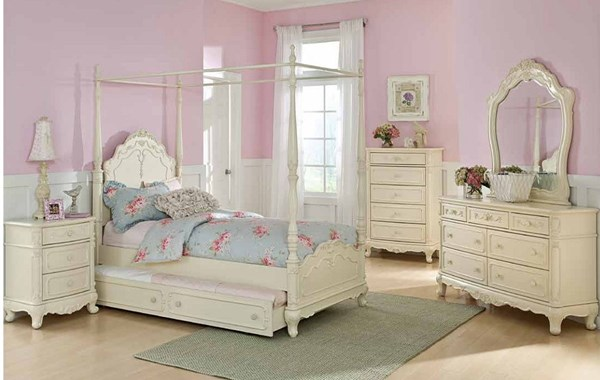 Cinderella White Wood 2pc Bedroom Set W/Twin Canopy Poster Bed HE-1386TCP-WH-S5