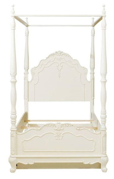 Home Elegance Cinderella Off White Twin Canopy Poster Bed HE-1386TPP-1