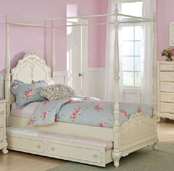 Cinderella Creamy White Wood Twin Canopy Poster Bed W/Trundle HE-1386TPP-1-R