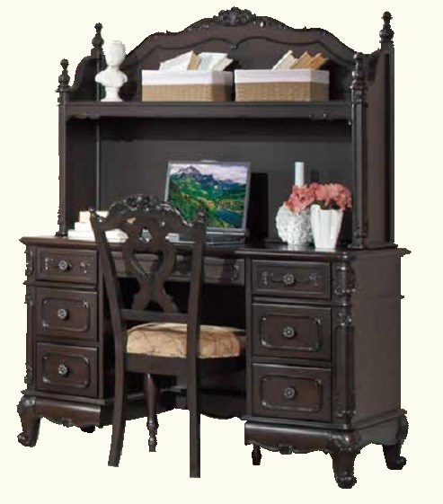 Cinderella Black Wood Writing Desk Hutch HE-1386NC-10