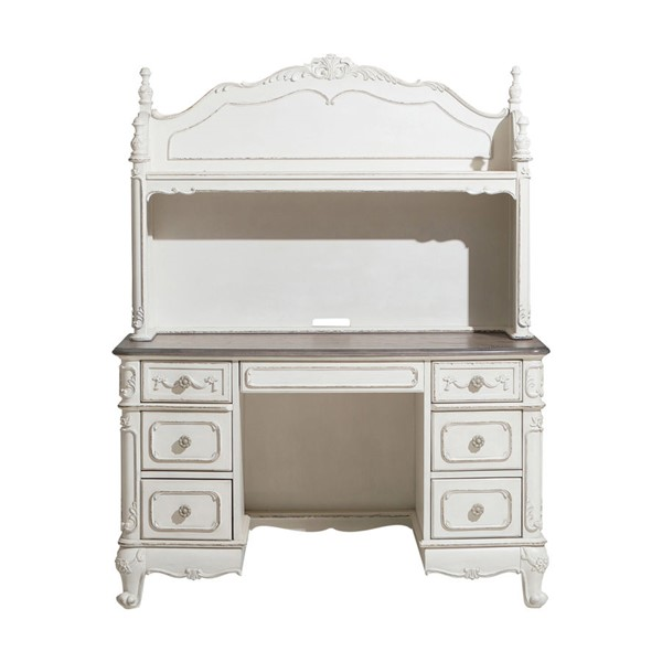 Home Elegance Cinderella Antique White Writing Desk with Hutch HE-1386NW-10-SET