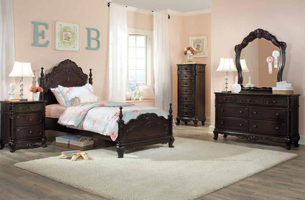 Cinderella Cherry Wood 2pc Kids Bedroom Set W/Twin Poster Bed HE-1386T-CH-S1