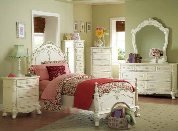Cinderella Creamy White Wood 2pc Kids Bedroom Set W/Twin Poster Bed HE-1386T-WH-S1