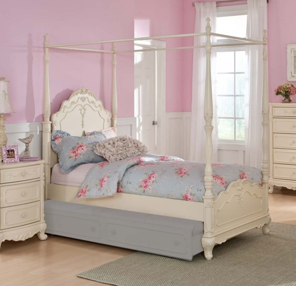 Cinderella Creamy White Wood Full Canopy Poster Bed HE-1386FPP-1