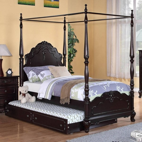 Cinderella Cherry Wood Twin Canopy Poster Bed w/Trundle HE-1386TPPNC-1-R