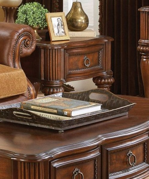 Prenzo Casual Warm Brown Wood Functional Drawers Square End Table HE-1390-04