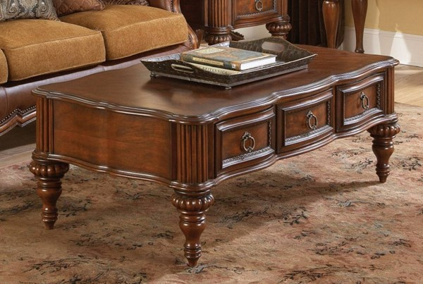 Prenzo Casual Warm Brown Wood Functional Drawers Cocktail Table HE-1390-30