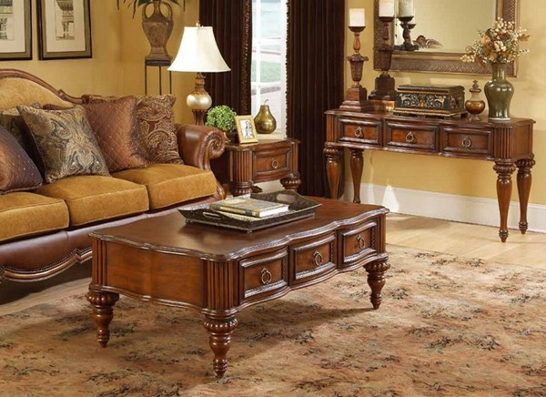 Prenzo Casual Warm Brown Wood 3pc Coffee Table Set HE-1390-OCT-S