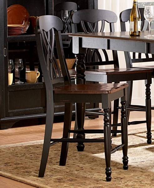 2 Ohana Casual Antique Black Cherry Counter Height Chairs HE-1393BK-24