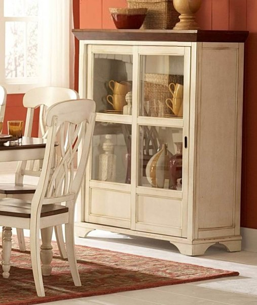 Ohana Casual Antique White Warm Cherry Wood Curio HE-1393W-50