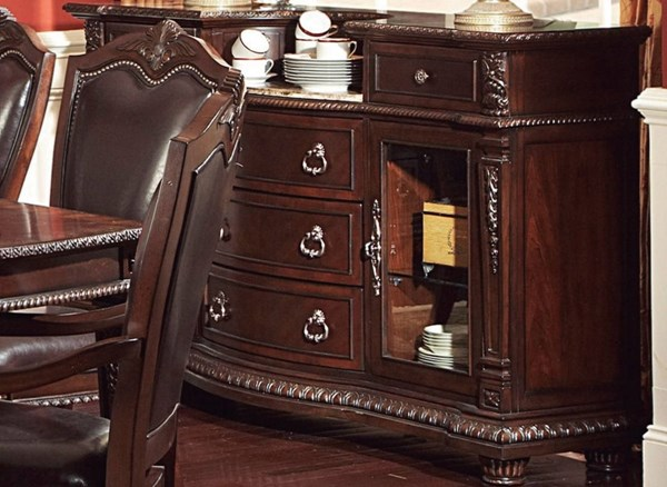 Palace Old World Rich Brown Wood Marble Top Server HE-1394-40