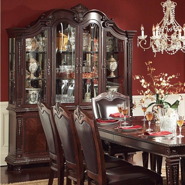 Palace Rich Brown Wood Metal Glass Buffet And Hutch HE-1394-50