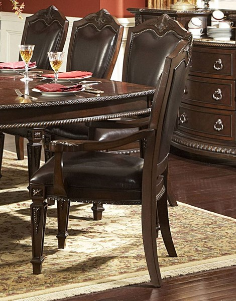 2 Palace Old World Rich Brown Faux Leather Wood Arm Chairs HE-1394A
