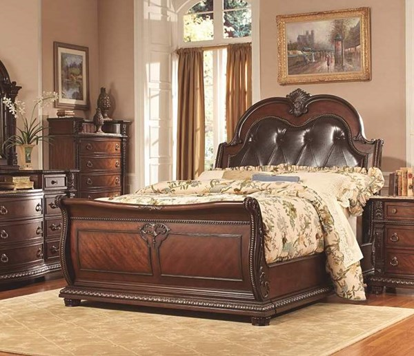 Palace Old World Rich Brown Wood Leather Beds HE-1394-beds