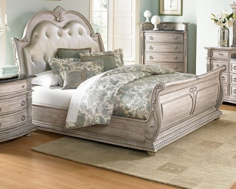 Palace II Old World Weathered White Bonded Leather Wood Bed HE-1394N-BEDS